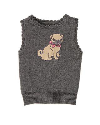 Charcoal Heather Pug Puppy Sweater Vest at JanieandJack