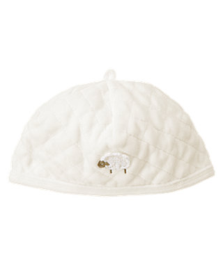 Jet Ivory Quilted Velour Hat at JanieandJack