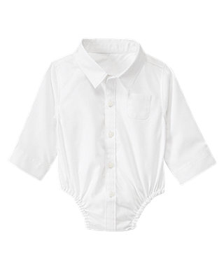Baby Boy Jet Ivory Dress Shirt Bodysuit at JanieandJack