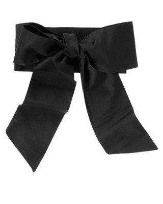 Classic Black Silk Duppioni Sash at JanieandJack