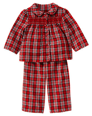 Reindeer Red Plaid Smocked Plaid Pajama Set at JanieandJack