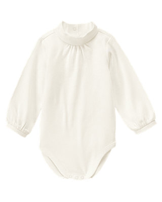 Jet Ivory Shirred Turtleneck Bodysuit at JanieandJack