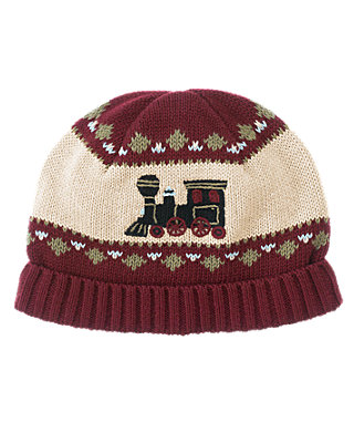 Boys Burgundy Train Fair Isle Hat at JanieandJack