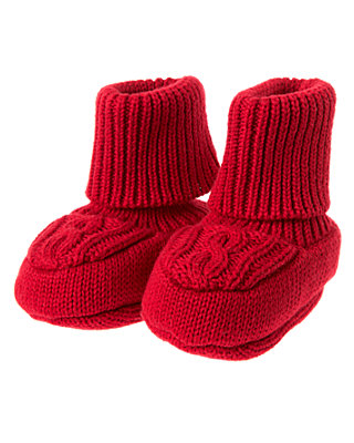 Holiday Red Cable Sweater Bootie at JanieandJack