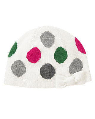 Bright Pink Dot Polka Dot Sweater Hat at JanieandJack