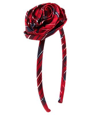 Holiday Red Plaid Plaid Rosette Headband at JanieandJack