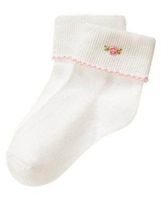 Ivory Embroidered Rose Sock at JanieandJack