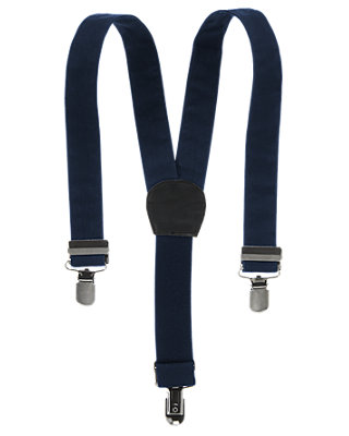 Boys  Navy Blue Classic Suspender at JanieandJack