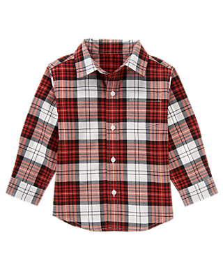 Cardinal Red Plaid Plaid Dress Shirt at JanieandJack