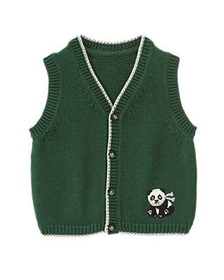 Pine Needle Green Panda Sweater Vest at JanieandJack
