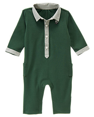 Pine Needle Green Panda Polo One-Piece at JanieandJack