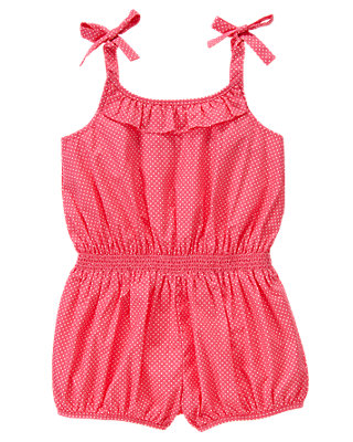 Wild Rose Dot Pindot Smocked Romper at JanieandJack