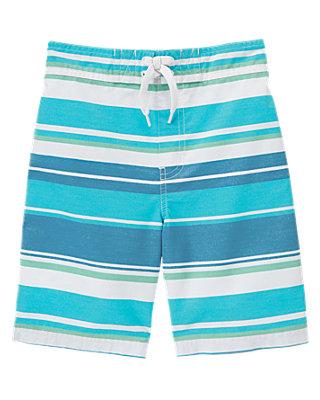 Marlin Blue Stripe Stripe Swim Trunk at JanieandJack
