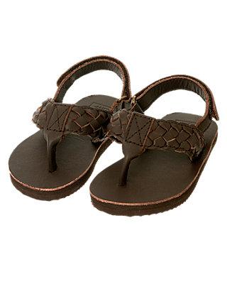 Dark Brown Leather Flip Flop at JanieandJack