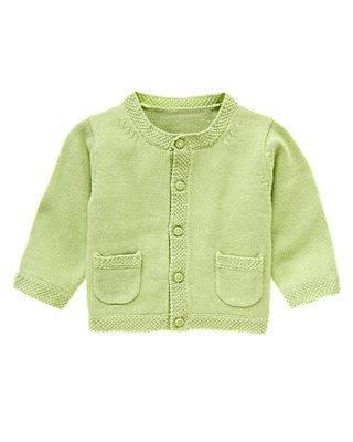 Baby Boy Pale Green Classic Cardigan at JanieandJack