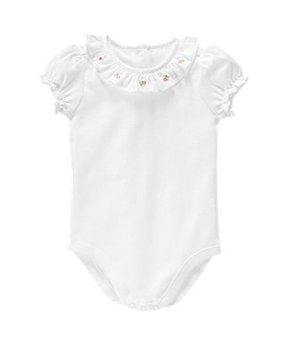 Pure White Embroidered Collar Bodysuit at JanieandJack