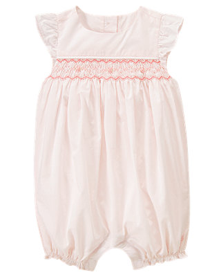 Blush Pink Hand-Embroidered Rosette Smocked Bubble at JanieandJack