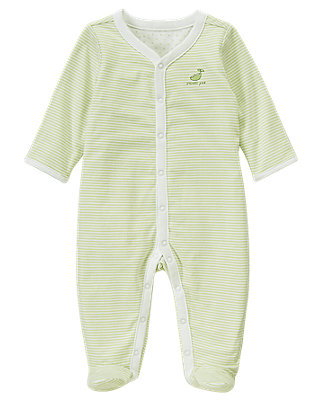 Pale Green Sweet Pea Reversible One-Piece at JanieandJack