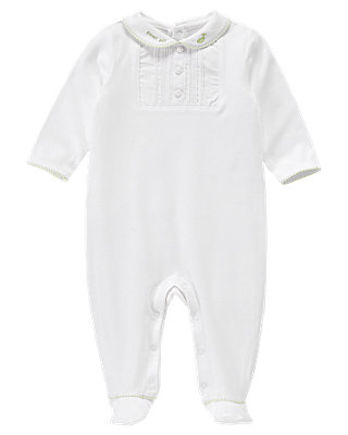 Pure White Sweet Pea Inset One-Piece at JanieandJack