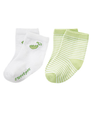 Pale Green Sweet Pea Sock Two-Pack at JanieandJack