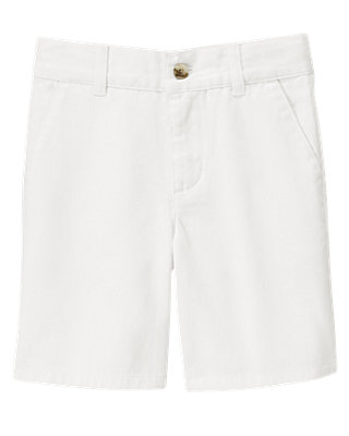 Boys Pure White Twill Short at JanieandJack
