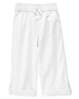 Boys Pure White Roll Cuff Canvas Pant at JanieandJack