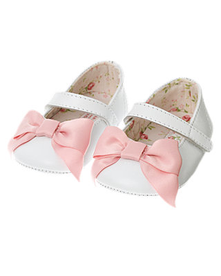 Pure White Bow Leather Crib Shoe at JanieandJack
