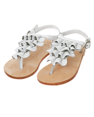 Pure White Ruffle Leather Sandal at JanieandJack