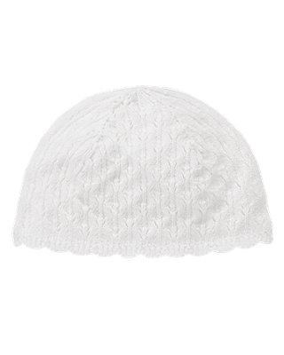 Pure White Pointelle Sweater Hat at JanieandJack