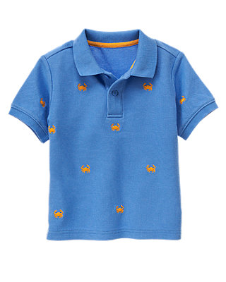 Lighthouse Blue Embroidered Crab Polo Shirt at JanieandJack