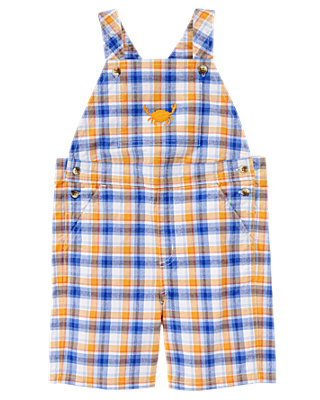 Sunset Orange Plaid Plaid Shortall at JanieandJack