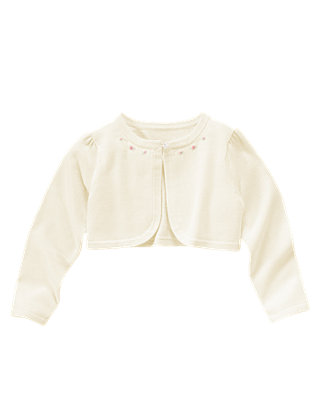 Jet Ivory Hand-Embroidered Rosebud Crop Cardigan at JanieandJack