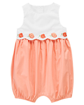 Coral Poppy Embroidered Bubble at JanieandJack