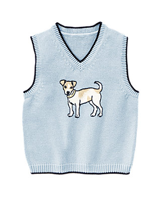 Spring Blue Puppy Sweater Vest at JanieandJack