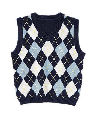 Classic Navy Argyle Sweater Vest at JanieandJack