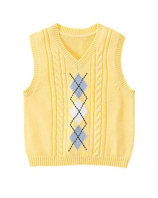 Sunshine Yellow Argyle Cable Sweater Vest at JanieandJack