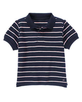 Classic Navy Stripe Stripe Polo Shirt at JanieandJack
