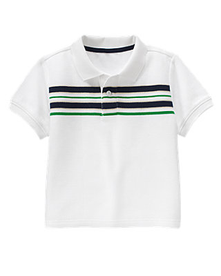 Pure White Stripe Polo Shirt at JanieandJack