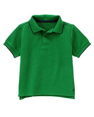 Kelly Green Tipped Polo Shirt at JanieandJack