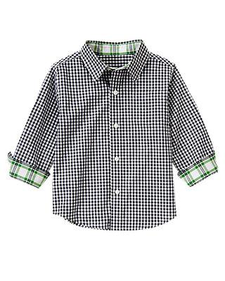 Classic Navy Check Gingham Roll Cuff Shirt at JanieandJack