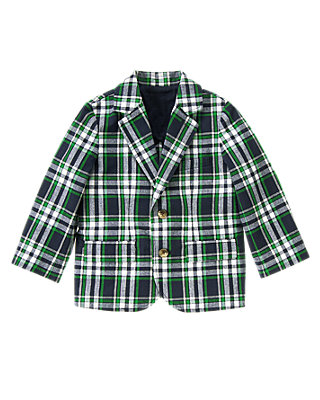 Classic Navy Plaid Plaid Canvas Blazer at JanieandJack