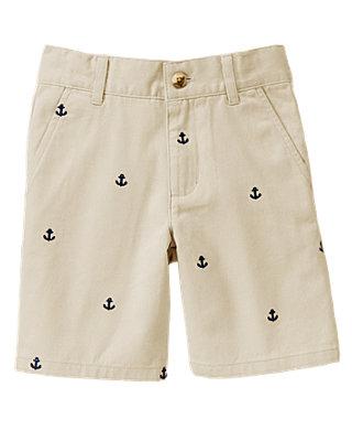 Boys Classic Khaki Embroidered Anchor Short at JanieandJack