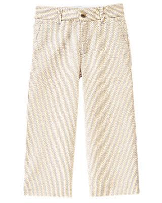 Boys Classic Khaki Stripe Stripe Seersucker Trouser at JanieandJack
