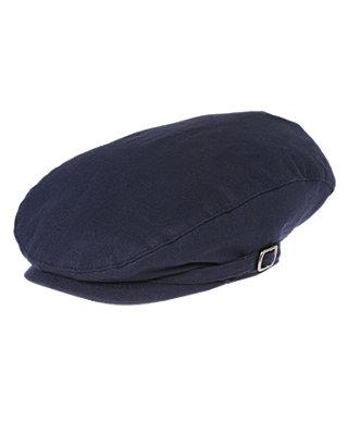 Boys Classic Navy Linen Blend Cap at JanieandJack