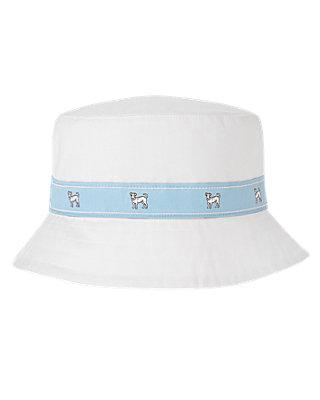 Boys Pure White Puppy Bucket Hat at JanieandJack