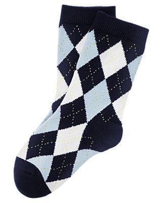 Boys Classic Navy Argyle Sock at JanieandJack