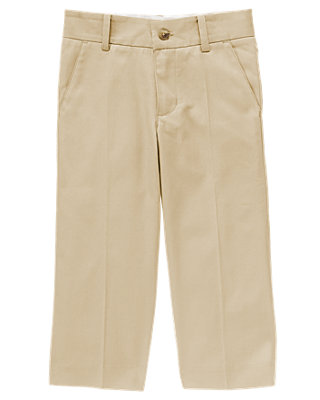 Boys Classic Khaki Khaki Suit Trouser at JanieandJack