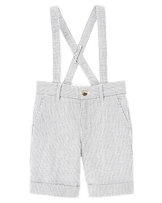 Boys Spring Navy Stripe Stripe Seersucker Suspender Short at JanieandJack