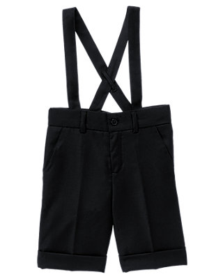 Boys Classic Navy Wool Suspender Short at JanieandJack