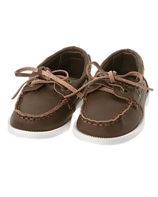 Dark Brown Leather Boat Shoe at JanieandJack